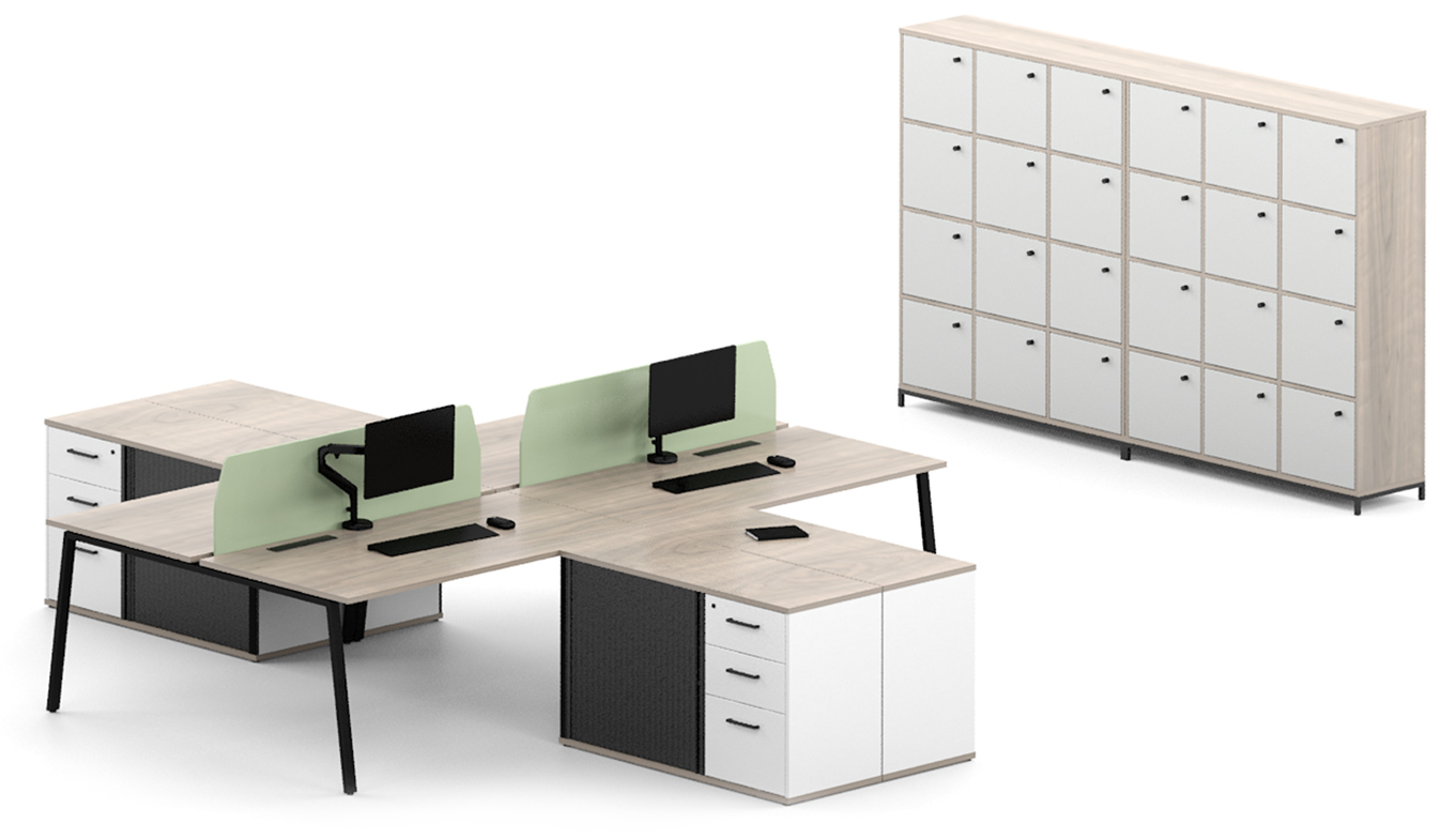 office desks with wooden tops and green dividers