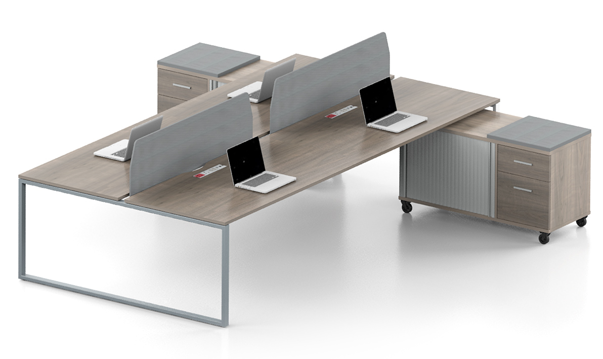 four person desk stations with shelving in wood and grey