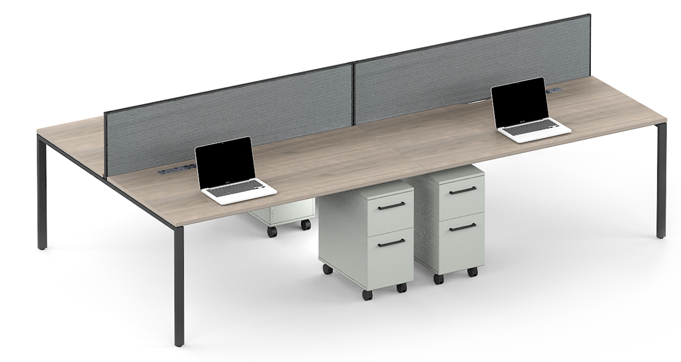 workstation desks in wood with dividers and individual cupboards
