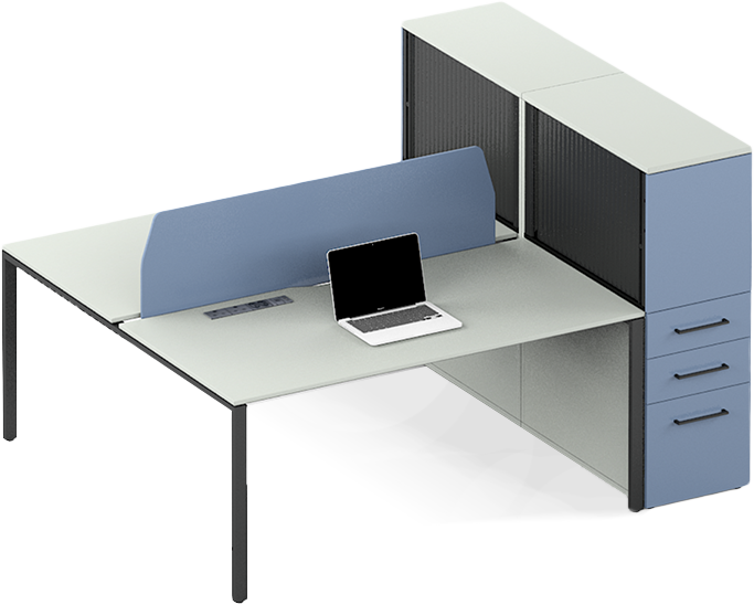 Modular office systems desks with a blue cupboard divider
