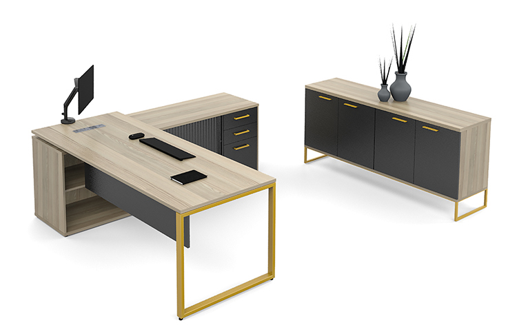 managerial desk with storage in wood with black finishes