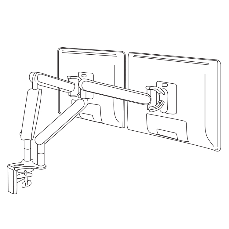 Line render of a monitor arm holding up two monitors