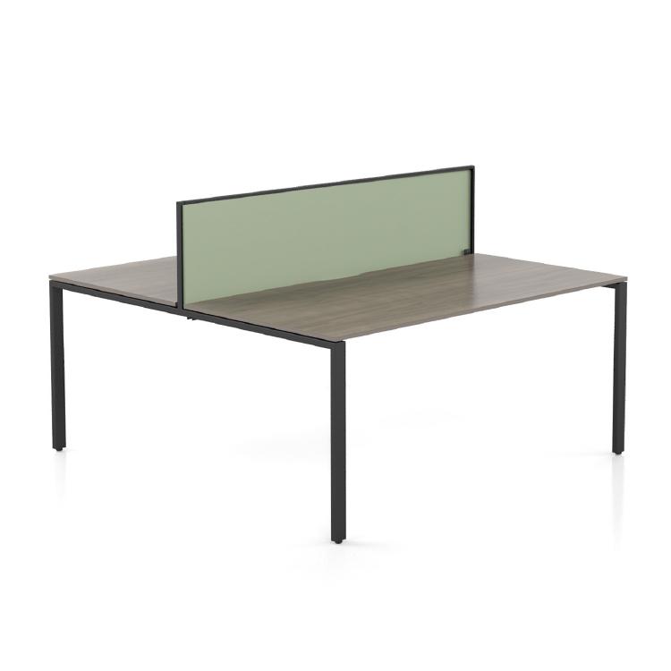 desk with aluminium framed screen