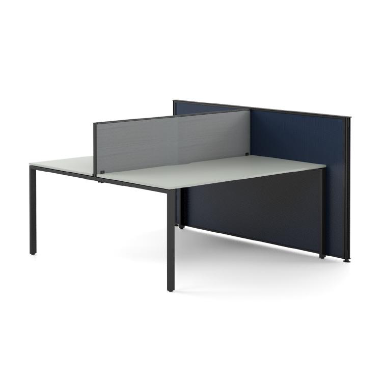 floor based aluminium framed screen and desk