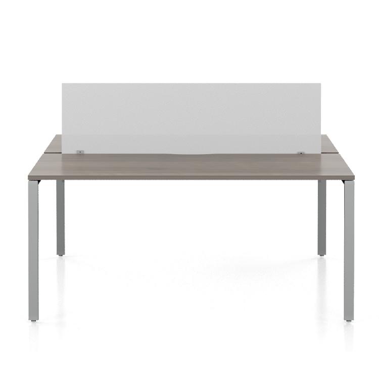 wooden desk with white frameless acrylic screen