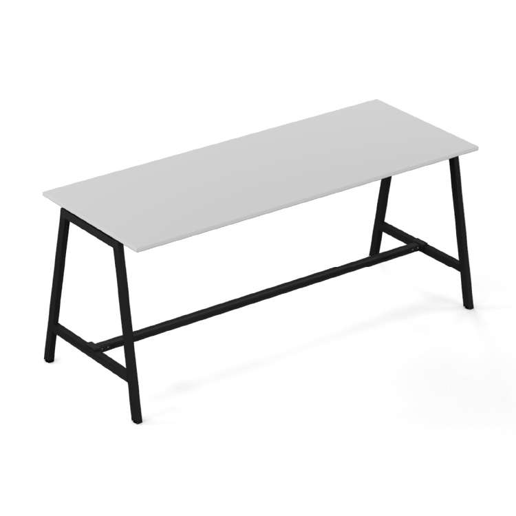 High white desk with black legs