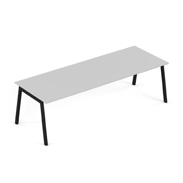 Angled white desk with black legs