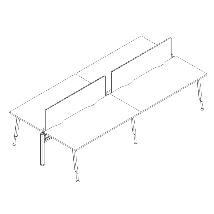 cluster desks with bagged screen