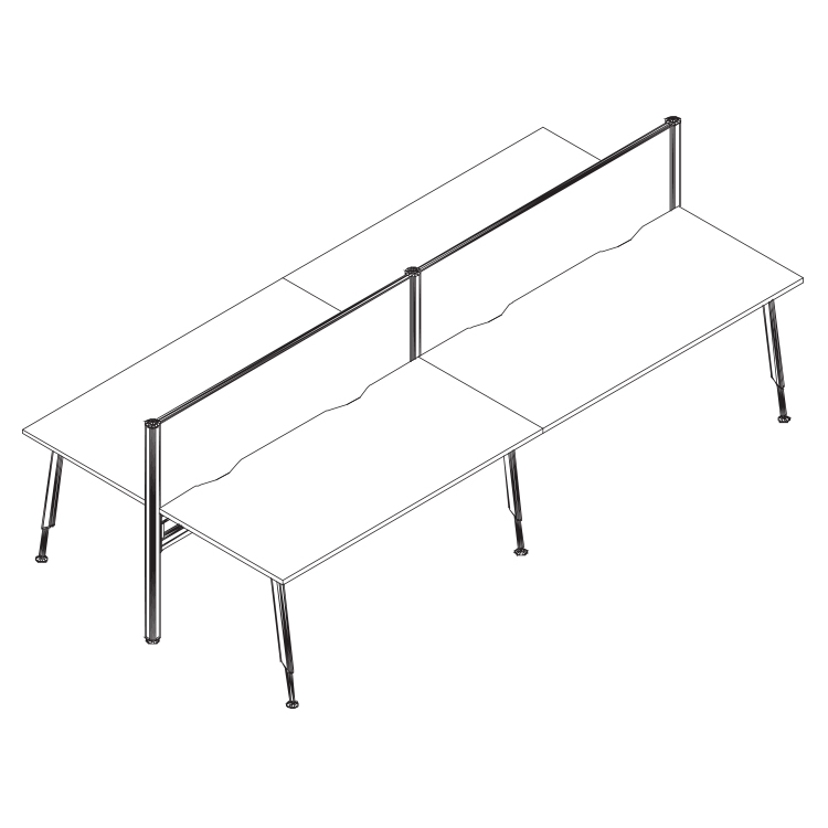 cluster desks with framed screen