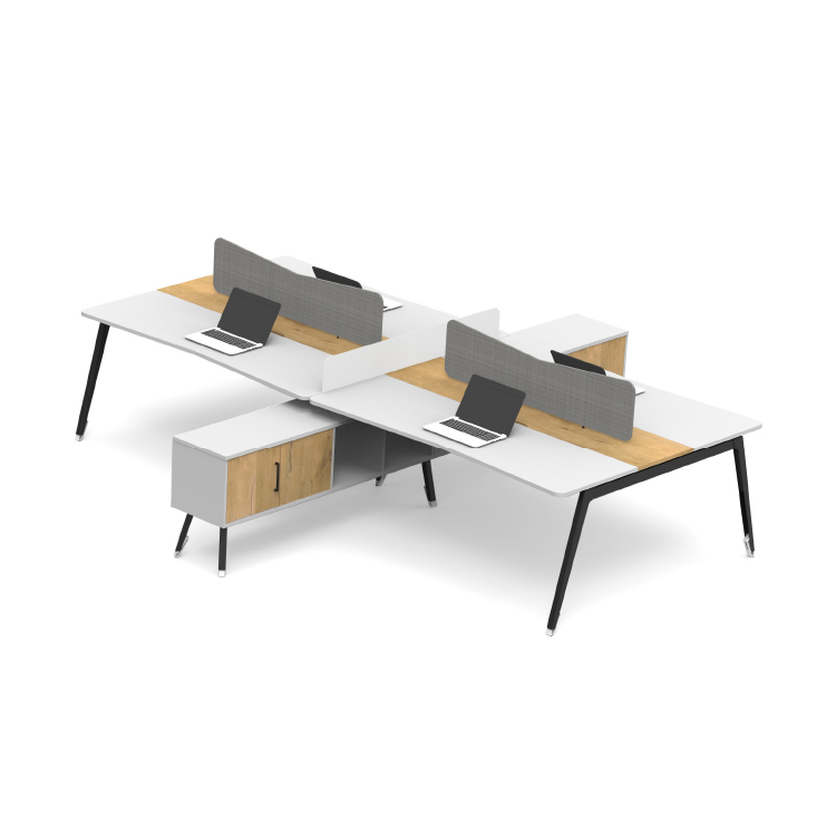 Mada modular office systems desk with a cupboard divider
