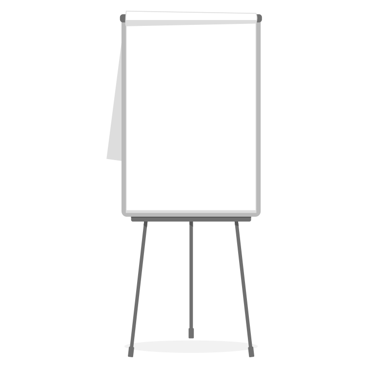 White flip chart on a stand