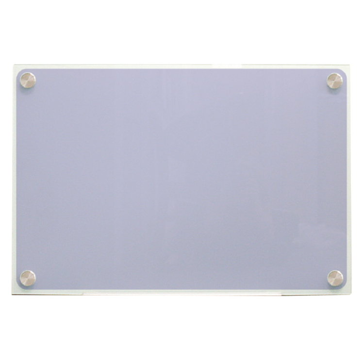 Frosted glass board with silver brackets