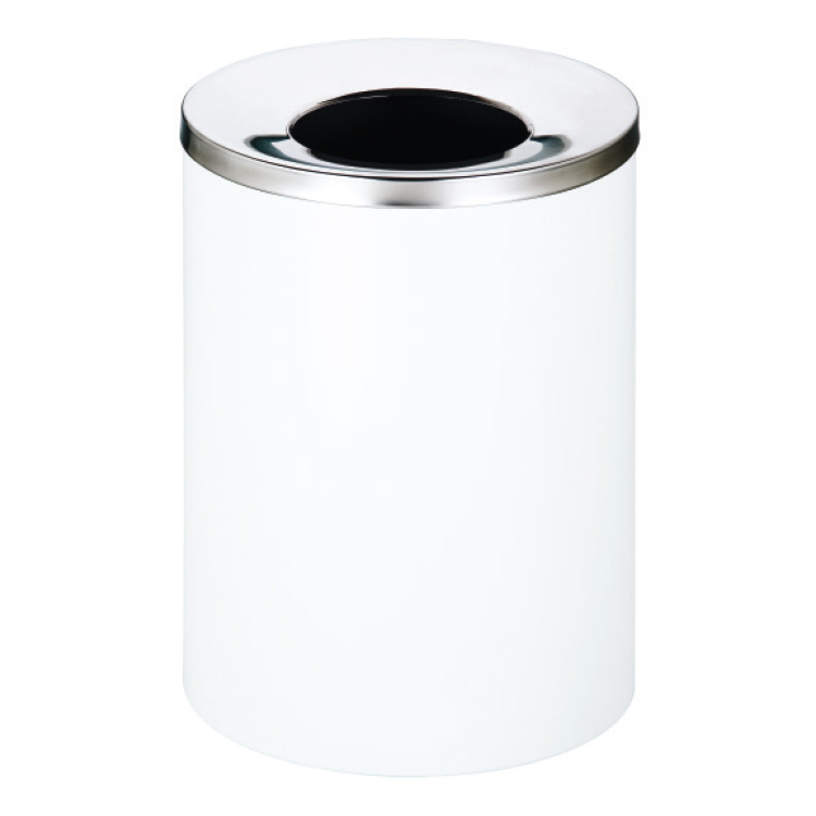 White Life bin with chrome top