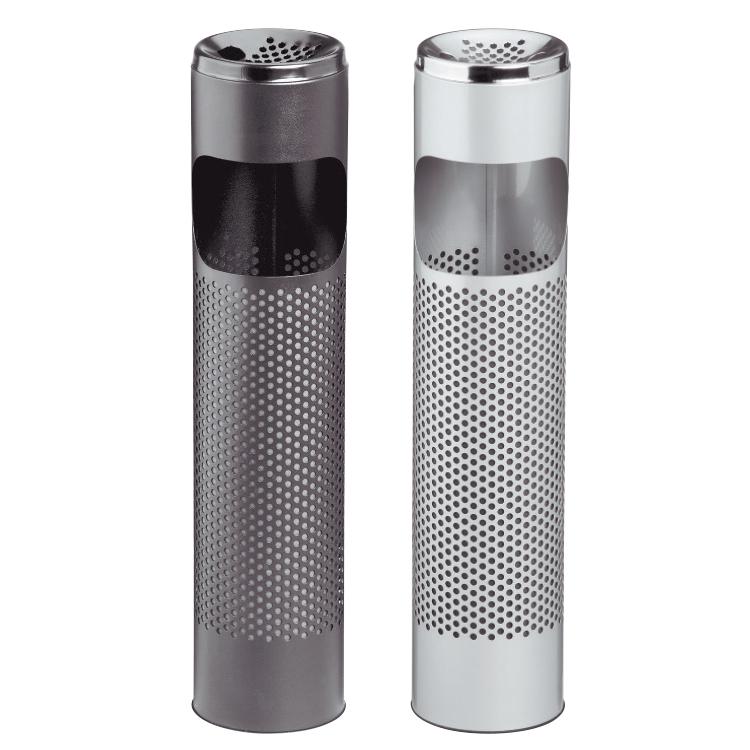 Standing black and white metallic ashtrays