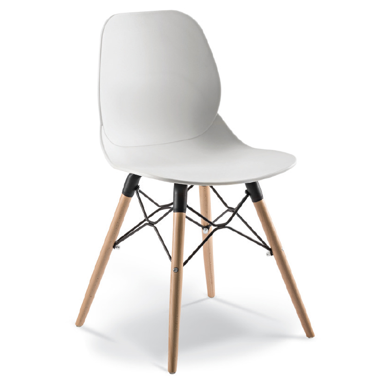 White Cafe Chair with wooden legs