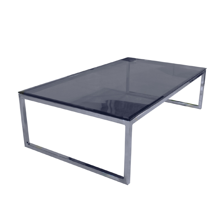 Glass office coffee table with brass legs