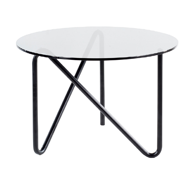 Modern round glass office coffee table with black steel legs
