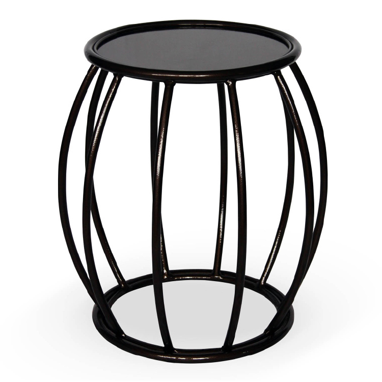 Modern black drum shaped office coffee table