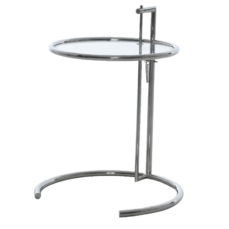 Minimalist polished steel round office coffee table