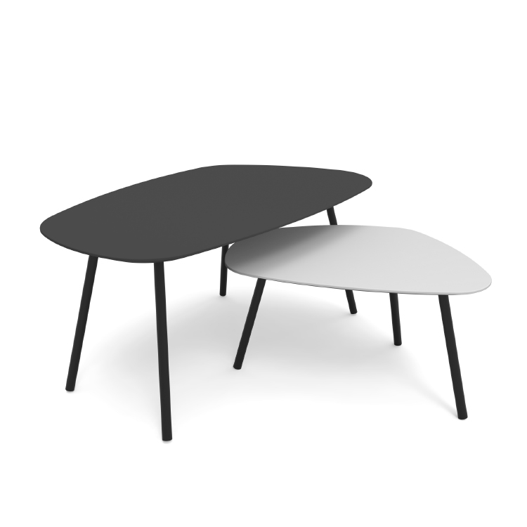 Mai office coffee table. Black or white coffee table with black steel legs