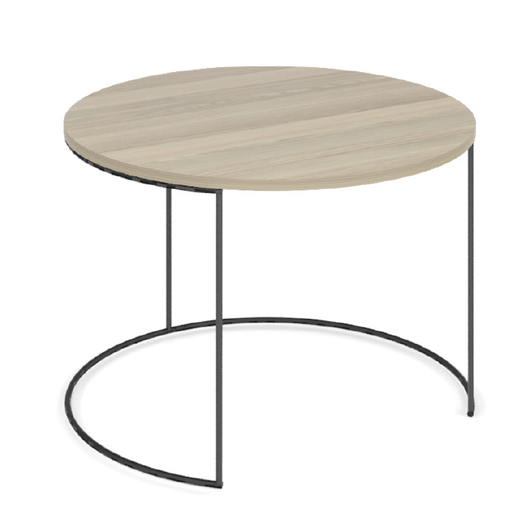 Round office coffee table with wooden top and black steel legs
