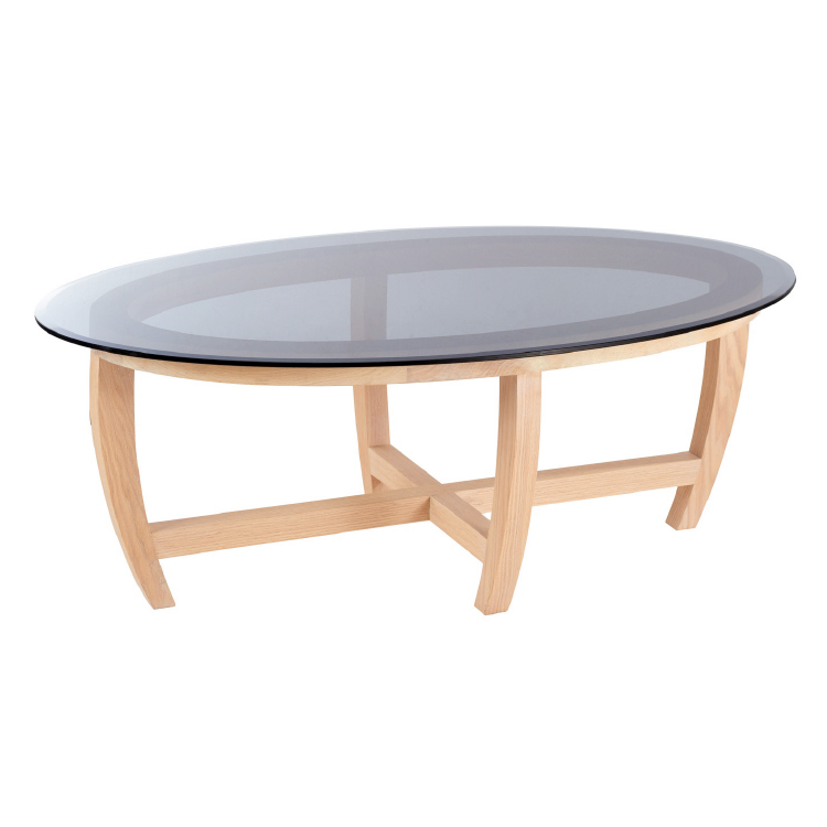Oval glass office coffee table with wooden legs