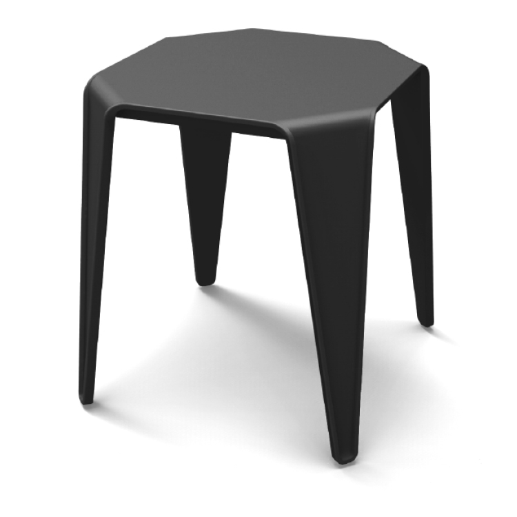 Simple black coffee table with four legs