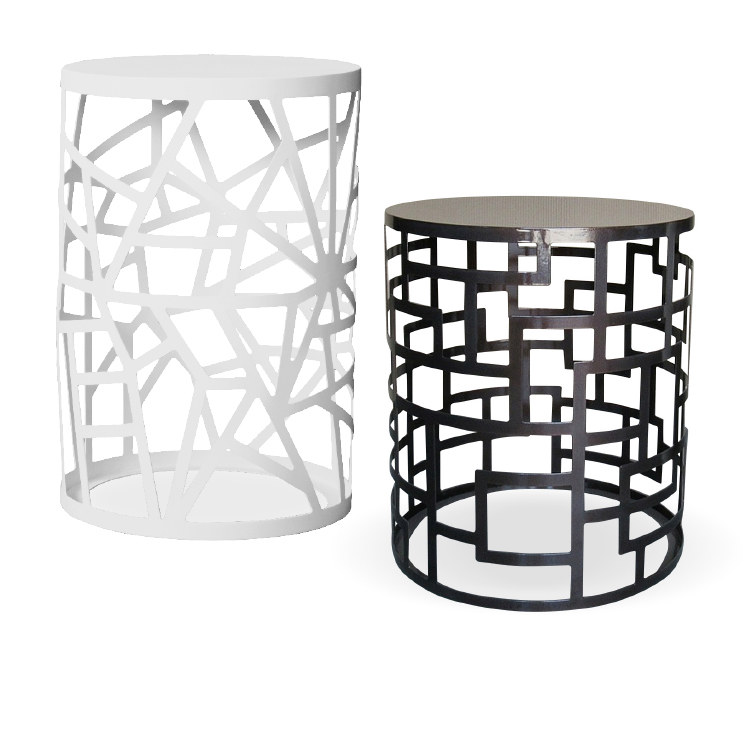 Modern black and white office coffee tables with steel patterns