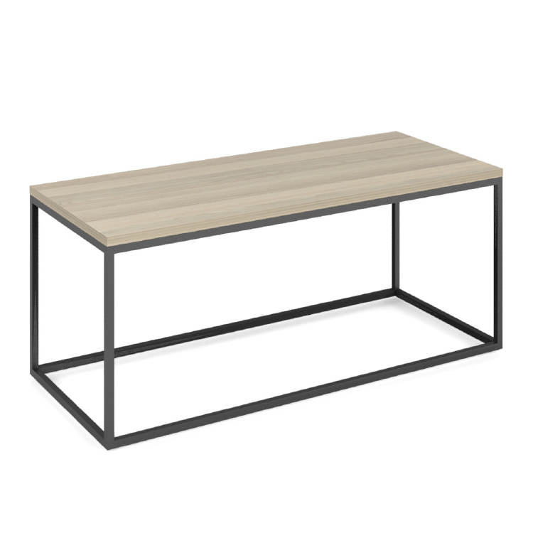 Rectangular office coffee table with wooden top and black steel legs