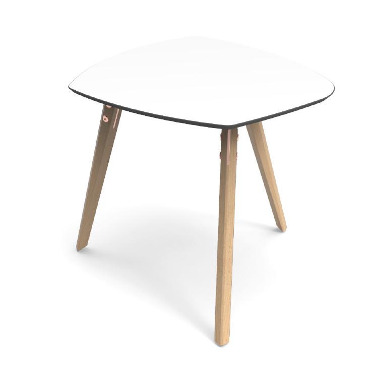 White office coffee table with 3 wooden legs