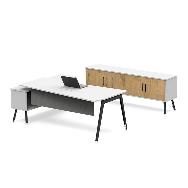 executive desk with file storage cupboards