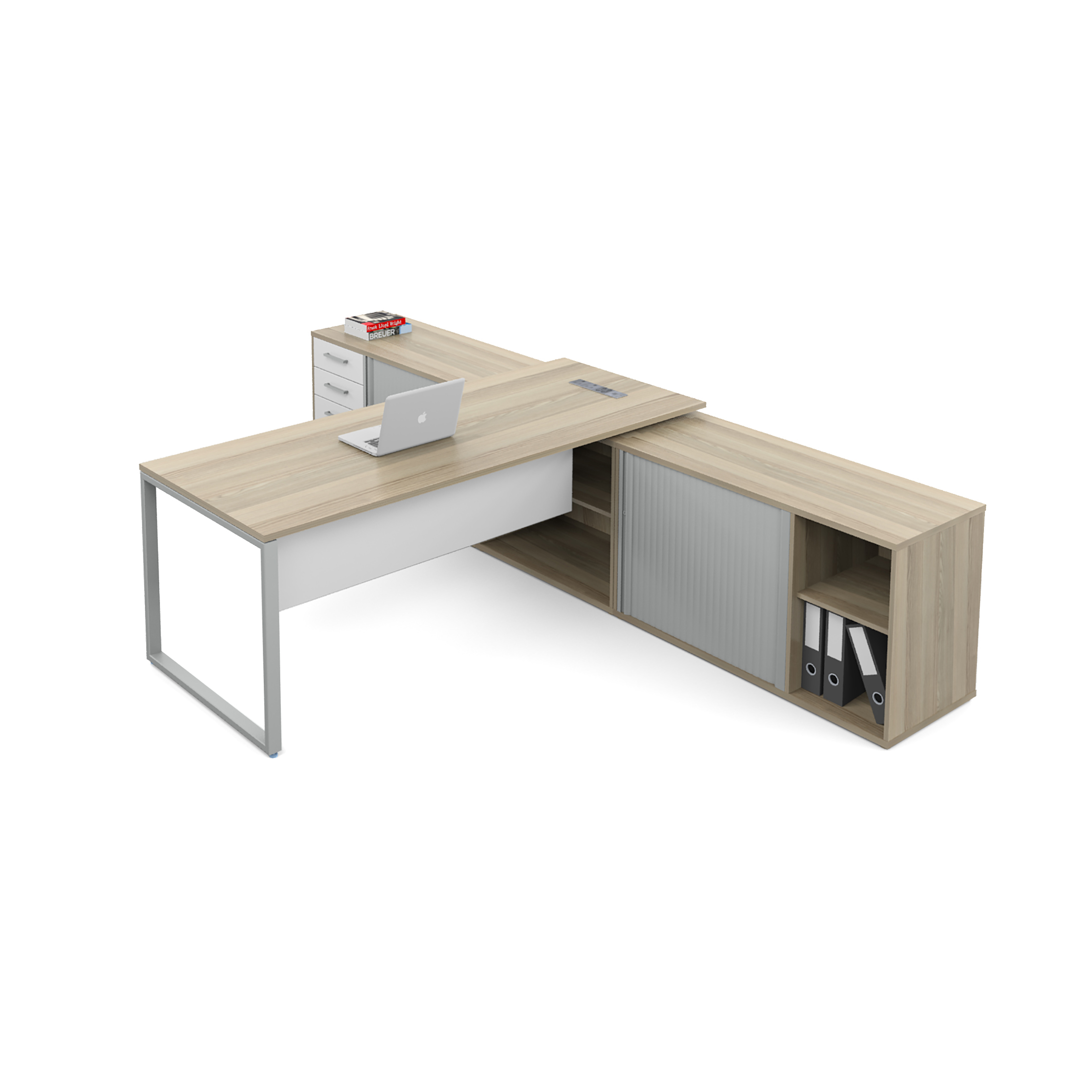 executive wooden desk with storage