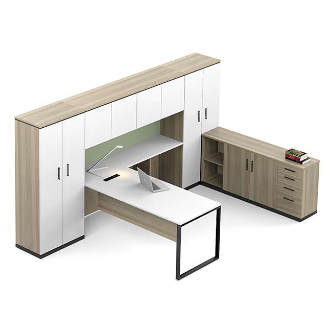 executive desk unit in wood with white doors