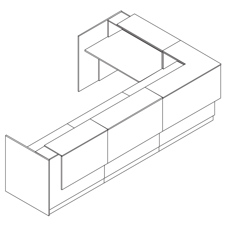 Line render of a 3600cm reception podium extended with a corner