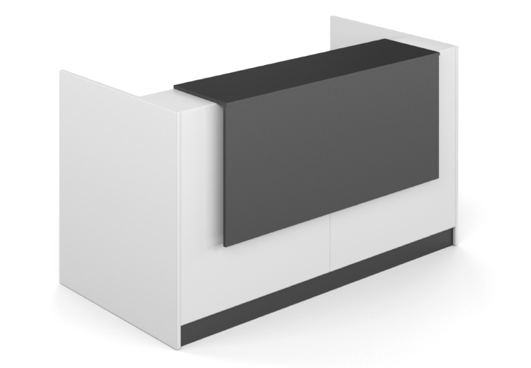 Render of a white reception counter with black finish