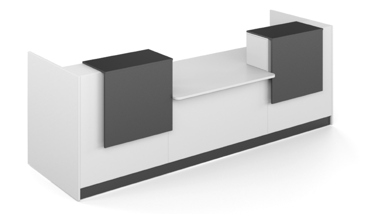 Render of a white long reception counter with black finish