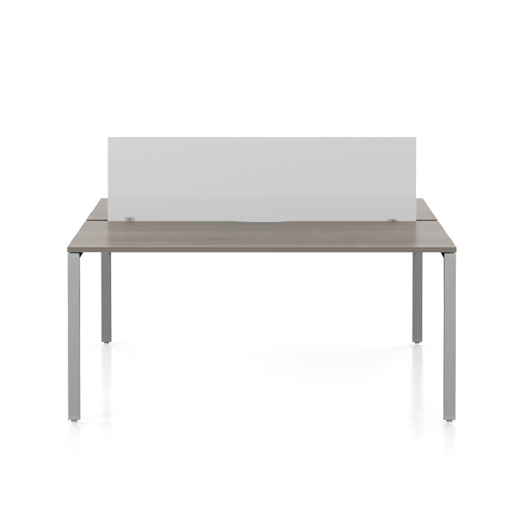 desk with white acrylic screen