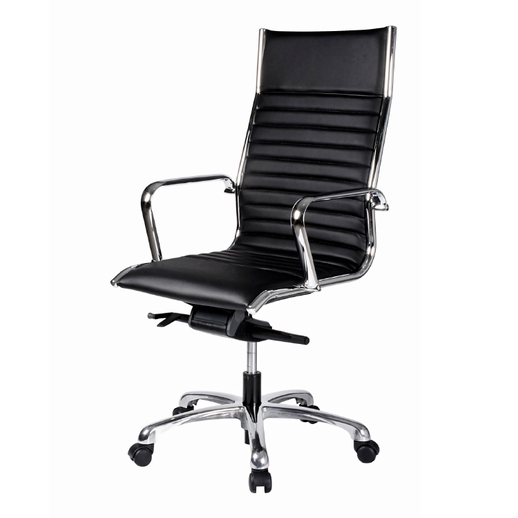 Leather high back black office chair on wheels with