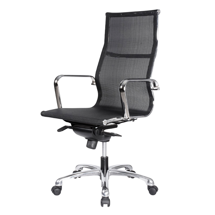 High back black office chair with chrome armrest and mesh back