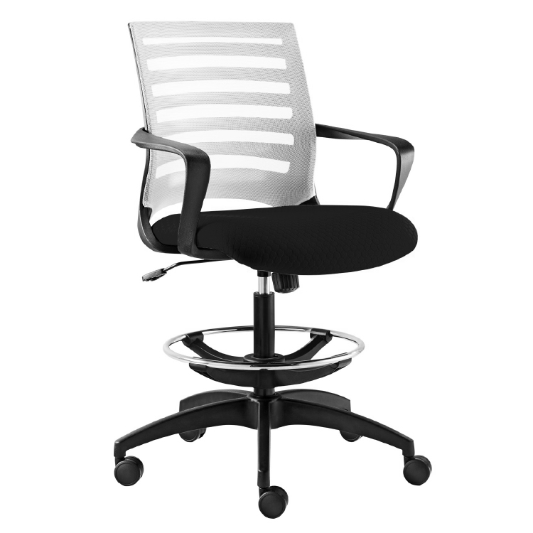 Office chair on wheels with footrest and white back