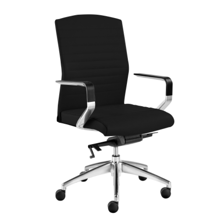 High back black office chair on wheels