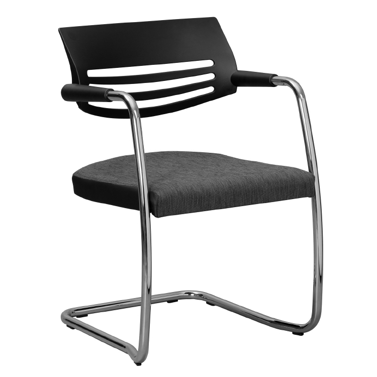 Office chair with chrome legs and fabric seat