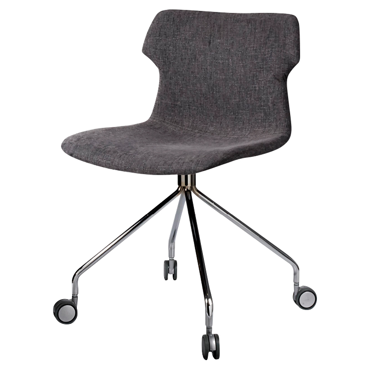 Black office chair on wheels with shell shape