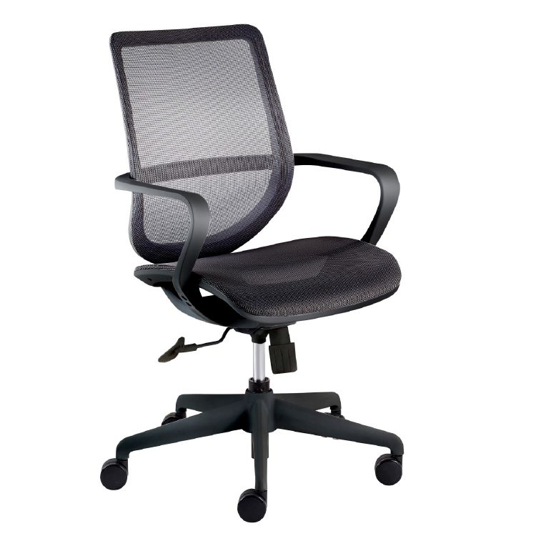 Black office chair with mesh back on wheels