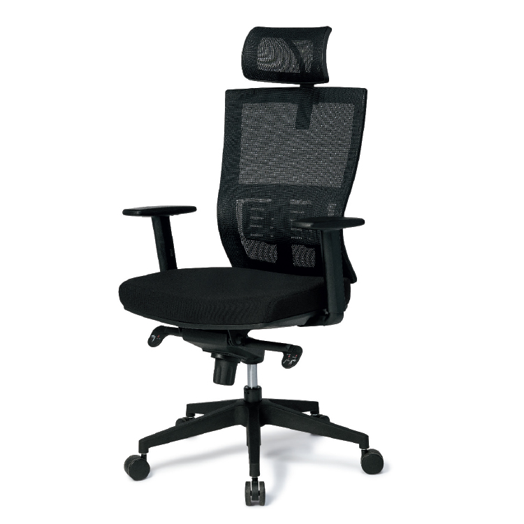 High back black chair with mesh back and headrest