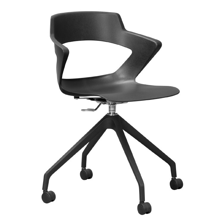 Black office chair with plastic back on wheels
