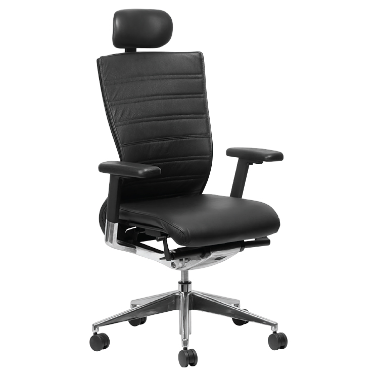 High back black office chair on wheels with headrest