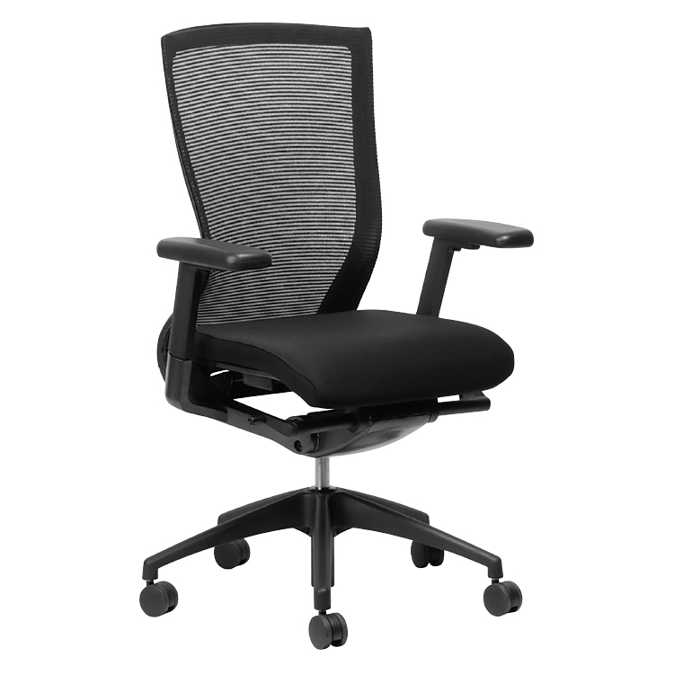Black office chair on wheels with mesh back