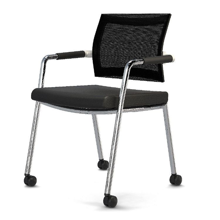 Office chair with chrome legs and wheels