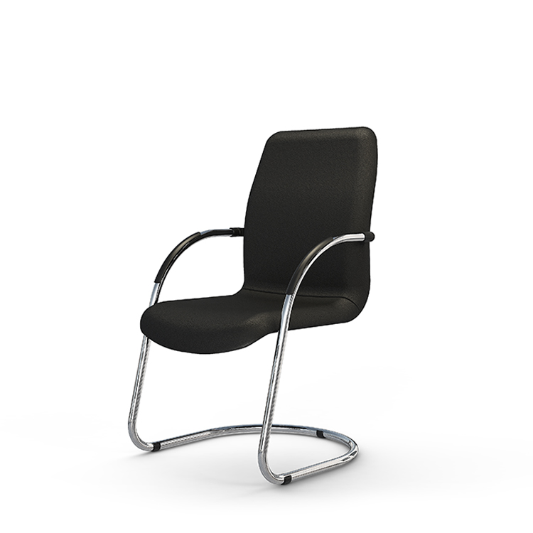 Black office chair with chrome legs